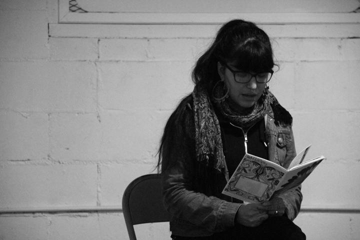 Nyky reads from her zine, Skinned Heart