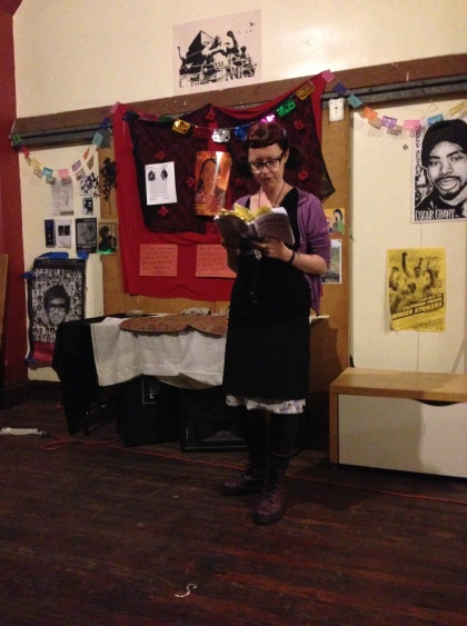 Maranda reading at the Holdout in Oakland